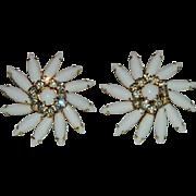 SALE Impeccable Judy Lee Milk Glass Rhinestone Earrings