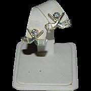 SALE Designer Sterling Silver Cubic Zirconia Golf Club Earrings