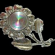 SALE Fab Jewelarama Holographic Flower Brooch in Silver Tone