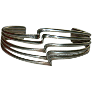SALE Sterling Silver Modernist Cuff Bracelet ~ Mexico