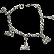 SALE Silver Tone Washington D.C. Charm Bracelet