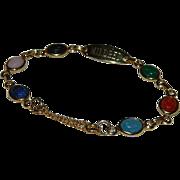 """SALE Unique Scarab Charm Bracelet Monogramed """"Mildred"""" Gold Filled"""
