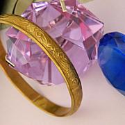 SALE Art Nouveau Brass Repousse Bangle Bracelet