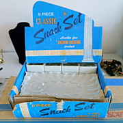SALE Vintage Classic Anchor Hocking Dessert Snack Service, Store Display Box