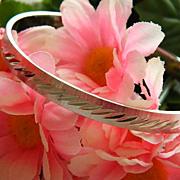 SALE Sleek Vintage Monet Silver Tone Etched Bangle Bracelet