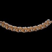 SALE Vintage Signed CROWN TRIFARI Faux Pearl Gold Leaf Link Bracelet