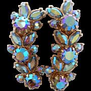 "SOLD SALE Vintage Signed VENDOME Peacock Blue Aurora Borealis Crystal Rhinestone ""Ear Cli"