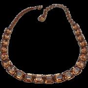 SALE Vintage SIGNED Weiss Brown Topaz Austrian Crystal Emerald-Cut Rhinestone Necklace