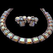SALE Vintage SIGNED Weiss Emerald Cut Aurora Borealis Austrian Crystal Rhinestone Demi Parure/
