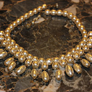 SALE Miriam Haskell Baroque Pearl STATEMENT Necklace C:1940 Signed