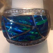 Stunning Australian  Opal  Wide Band Ring  Must See