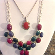 SALE Ruby, Emerald, Sapphire Sterling Necklace 60+ Carats Statement