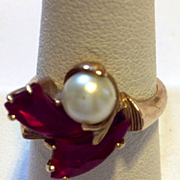 SALE Fabulous Deco Ruby Pearl Gold Ring Circa 1940