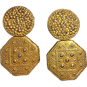 Miriam Haskell c: 1940 Ornate Gold Earrings