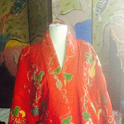 19 th Century Japanese theatrical fine wool robe with appliqué .