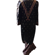 Vintage Palestinian robe, heavily embroidered,1960's.