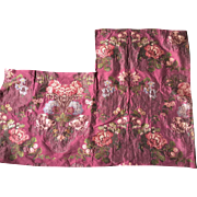 19th century Lyon French silk panel, perfect for a pillow, roses and bullion thread.