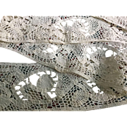 Early 17 th century tape lace panel.linen.