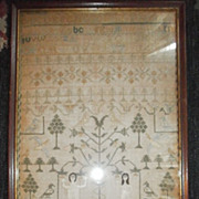 SOLD Sampler .English from Denby Hall. Sarah holden..Finished in 1800. Linen ground , linen an