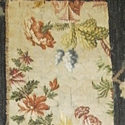 English , Early 18th century silk brocade panel. Flowers and decorative vase.