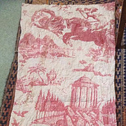 18 th century French toile de jouy, the Chariot at Dawn panel. Famous and Rare.