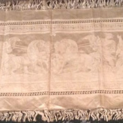 18th century damask silk runner with mythological figures.  English.
