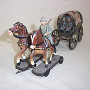 c1939 Elastolin Hausser (Model No' 0/750/2) Horse Drawn Field car