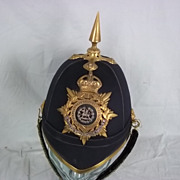 Circa 1902 South Wales Borderers Officer's 1878 Pattern Black Cloth Helmet
