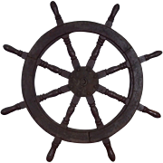 Vintage Ships Wheel From A Chinese Junk #4