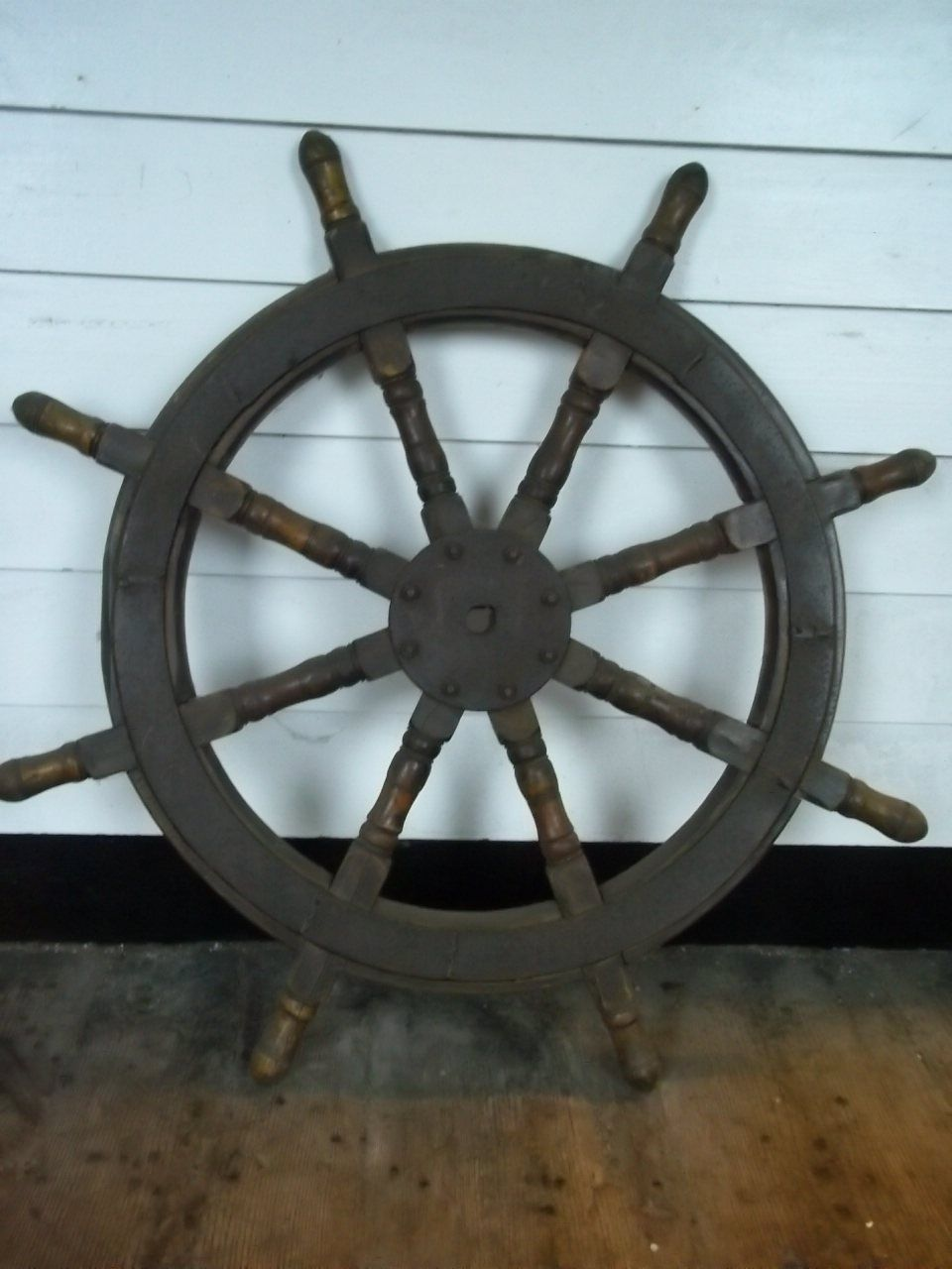 Vintage Ships Wheel From A Chinese Junk #5