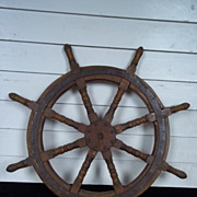 Vintage Ships Wheel From A Chinese Junk #8