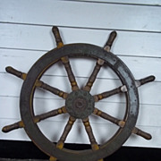 Vintage Ships Wheel From A Chinese Junk #10
