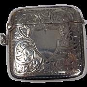 Sterling Silver Engraved Vesta Case, Birmingham 1919, 37.6g