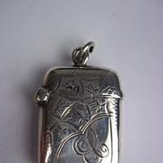 Sterling Silver Engraved Vesta Case, Chester 1911, 10.8g