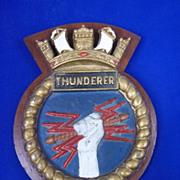 HMS Thunderer Wood Mounted Metal Ships Plaque, Orion Class Battleship