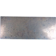 An Engraved Copper Plate of Patriotic & Coronation Poetry Circa 1911