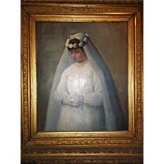 Carl John Blenner 'First Communion' Oil Portrait 1890
