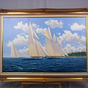Oil On Canvas Of HMY Britannia & Westward Racing Off I.O.W. By J.Andrew Bennett