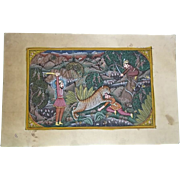 'Tiger Hunt' Indian Opaque Watercolour Ink And Gold On Paper, 19-20th Century