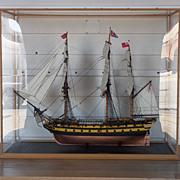 Stunning Cased Model Of The Two Decker 44 Gun HMS Serapis (1779) Royal Navy Ship