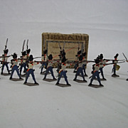 "c1900/20 ""French Grenadiers Fighting 1815"" Vintage Tin Flat Soldiers 20 Pieces. Boxe"
