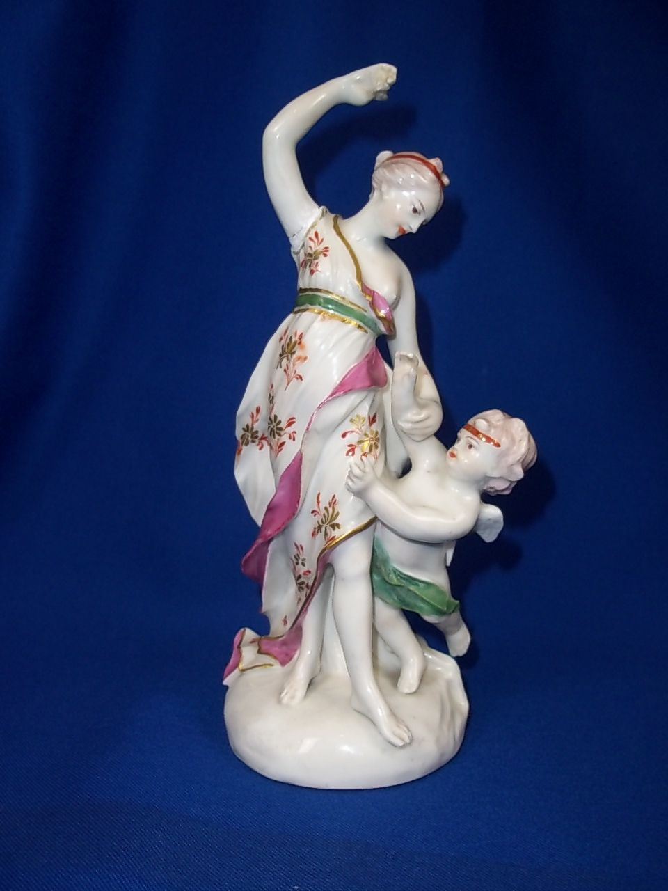 An English Early c1770 Derby Porcelain Patch Mark Figure of Venus and Cupid