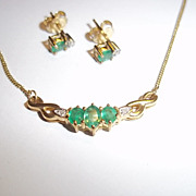 9ct Gold Emerald and Diamond Stud Earrings & Pendant Set, 2.5 g