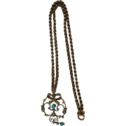 c1900  9ct Gold Turquoise And Pearl Pendant & Chain