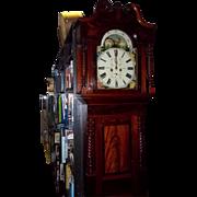 19th Century English Flame Mahogany 8 day Longcase Clock - Moon Phase