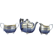 A George V Silver Three-Piece Tea Set Birmingham 1929
