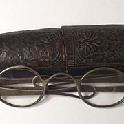 Pair Of Georgian Silver Spectacles & Original Case Birmingham 1783
