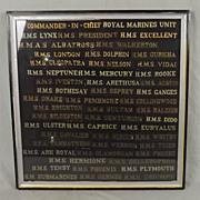 Framed Display Of 50 Royal Navy Cut Short Cap Tallies