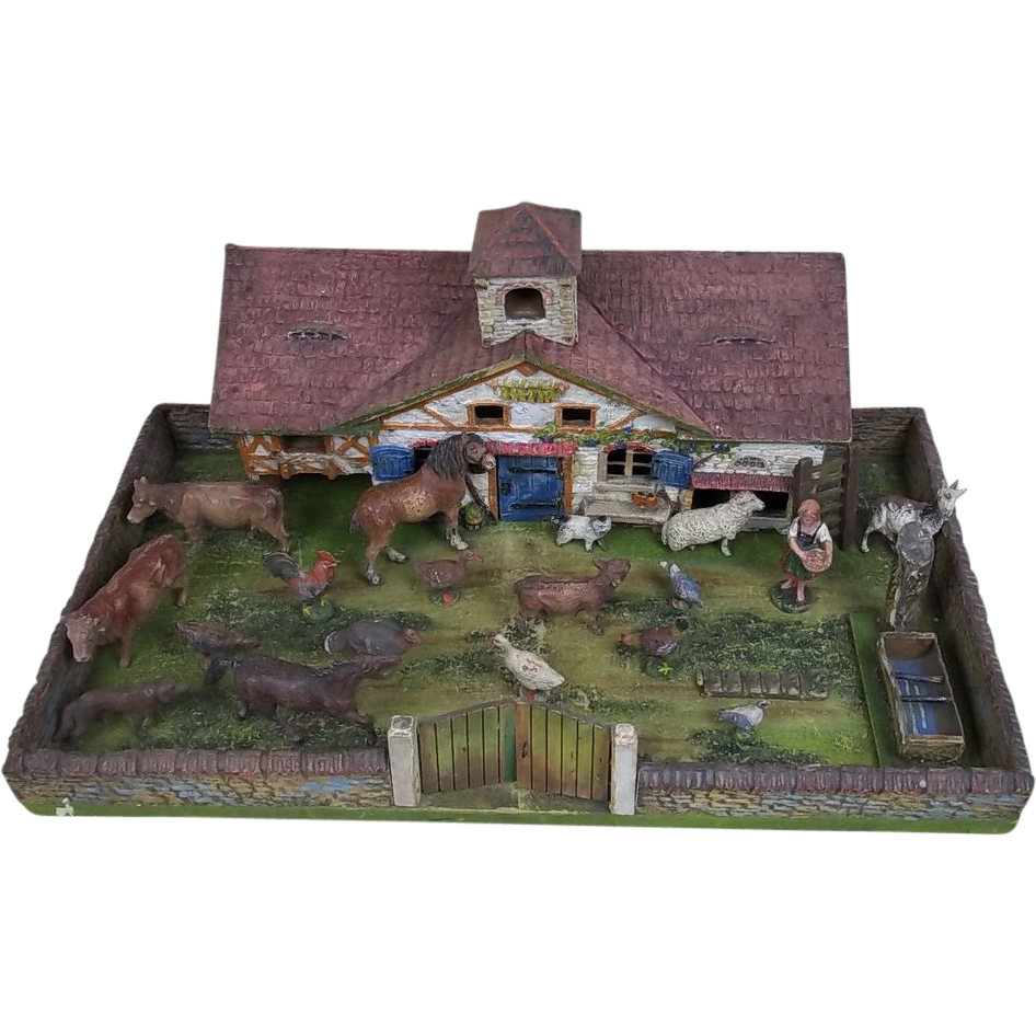 Elastolin Pre-War Wooden/Composite Farm House With Animals