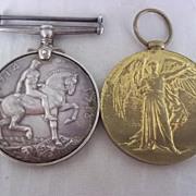 WW1 British War medal & Victory medal  PTE T.W.Worsnop East Yorkshire Regiment